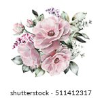 watercolor flowers. floral... | Shutterstock . vector #511412317