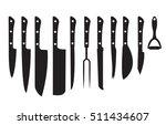 knife set black silhouette. set ...   Shutterstock .eps vector #511434607
