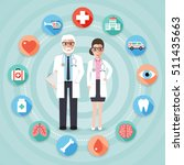 senior doctor and nurse with... | Shutterstock .eps vector #511435663