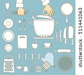 utensils with cooks hands  line ... | Shutterstock .eps vector #511441063