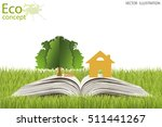 house and tree on open book.... | Shutterstock .eps vector #511441267