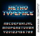 80's retro alphabet font.... | Shutterstock .eps vector #511447717