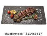 grilled striploin steak on a... | Shutterstock . vector #511469617