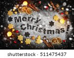 card with gingerbread  merry... | Shutterstock . vector #511475437