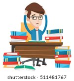 young stressed student studying ... | Shutterstock .eps vector #511481767