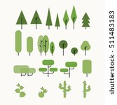 vector flat tree set.... | Shutterstock .eps vector #511483183