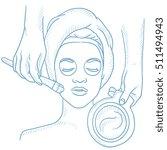 cosmetologist applying facial... | Shutterstock .eps vector #511494943