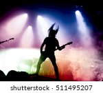 silhouette of guitar player in... | Shutterstock . vector #511495207