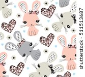 childish pattern with bunny ... | Shutterstock .eps vector #511513687