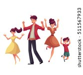 cheerful cartoon style family... | Shutterstock .eps vector #511567933