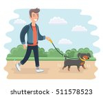 Stock vector vector cartoon illustration of young man walking dog outdoor in the park 511578523