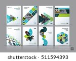 Business vector set. Brochure template layout, cover design annual report, magazine, flyer in A4 with green flying triangles, square, circles, flower, polygons for science, teamwork. Abstract | Shutterstock vector #511594393