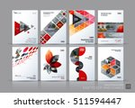 Business vector set. Brochure template layout, cover design annual report, magazine, flyer in A4 with red flying triangles, square, circles, flower, polygons for science, teamwork. Abstract | Shutterstock vector #511594447