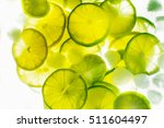 Lime With Water Isolated On...