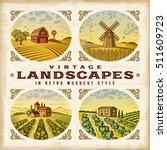 vintage colorful landscapes set.... | Shutterstock .eps vector #511609723