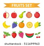 fruits and berries icon set.... | Shutterstock .eps vector #511699963
