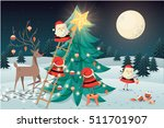 santa claus' putting up... | Shutterstock .eps vector #511701907