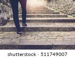 Woman Walk On Stair Background...