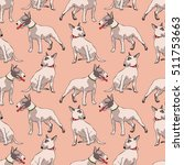 dogs. bull terrier. seamless... | Shutterstock .eps vector #511753663