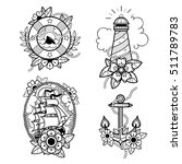 set of old school tattoos with... | Shutterstock .eps vector #511789783
