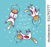 funny cats astronauts in space  ... | Shutterstock .eps vector #511792777