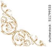 gold vintage baroque corner... | Shutterstock .eps vector #511799533