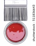 top view of red paint can with...