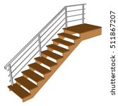 Stair  With Wooden Steps....