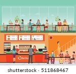 People Buying Fast Food at Fast food restaurant interior with hamburger and beverage, food and drink flat design vector illustration. | Shutterstock vector #511868467