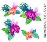few vector orchid bouquets.... | Shutterstock .eps vector #511877917