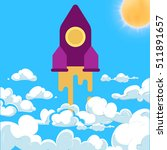 rocket and white clouds cartoon ...   Shutterstock . vector #511891657