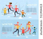 family skiing and skating.... | Shutterstock .eps vector #511904413