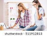 two beautiful caucasian girls... | Shutterstock . vector #511912813