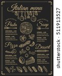 italian menu placemat food... | Shutterstock .eps vector #511913527