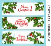 merry christmas banner set.... | Shutterstock .eps vector #511913677