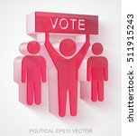 political icon  extruded red... | Shutterstock .eps vector #511915243