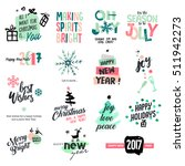 set of christmas and new year... | Shutterstock .eps vector #511942273