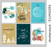 christmas and new year hand... | Shutterstock .eps vector #511942393