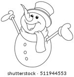 outlined happy snowman looking... | Shutterstock .eps vector #511944553