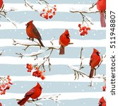 Winter Birds With Rowan Berrie...