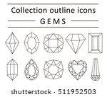set icons gems. vector outline... | Shutterstock .eps vector #511952503