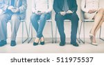 Small photo of hire employment employ interview candidate hiring legs business waiting cv women sitting queue group employer elegant executive caucasian female male indoors men colleague room concept - stock image
