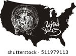 opossum and u.s. outline map.... | Shutterstock .eps vector #511979113