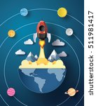 space rocket launch and galaxy .... | Shutterstock .eps vector #511981417