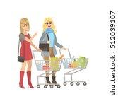 two girlfriends shopping in... | Shutterstock .eps vector #512039107