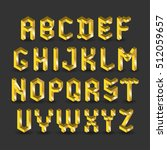 vector golden alphabet. yellow... | Shutterstock .eps vector #512059657