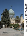 Small photo of Iran, Shiraz, Imamzadeh-ye Ali Ebn-e Hamze - October 04, 2016: View on the mosque with blue dome and the resting place of Emir Ali.