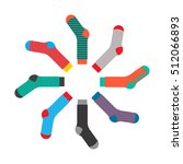 flat design colorful socks set... | Shutterstock .eps vector #512066893