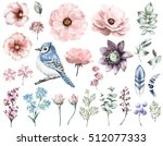 Stock photo set vintage watercolor elements of rose collection garden and wild flowers leaves branches 512077333