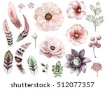 set vintage watercolor elements ...   Shutterstock . vector #512077357